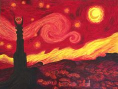 Lord of the rings starry night  Medium: Acrylic paint Artist: @clark8357  Please don't take credit as your own