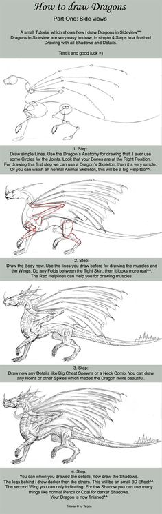 This is not an easy task! Drawing a dragon isThis is not an easy task! Drawing a dragon is a bit hard. But with this cool instruction you can draw a furious dragon just by yourself! Try it and sh Drawing Techniques, Drawing Tips, Drawing Reference, Drawing Sketches, Drawing Ideas, Sketching, Drawing Hands, Gesture Drawing, Anatomy Drawing