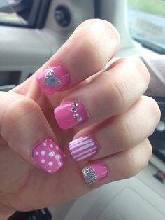 My mix and match pink nails!