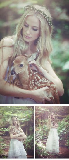 'Shadows Of My Heart Bridal Shoot' With A Fawn - Weddingomania Fantasy, Enchanted Forest Wedding, She Wolf, Baby Deer, Bridal Shoot, Photoshoot Inspiration, Character Inspiration, Fairy Tales, Art Photography