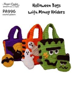Crochet Pattern Halloween Bags with Money Holders PA996-R