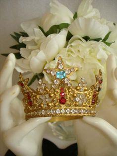 Santos Crown, France (late 19th c.; goldtone, paste gemstones).