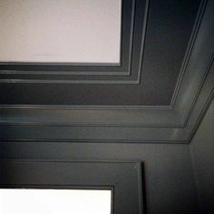 "For dining room or master ceiling trim idea. ""a simple beaded crown moulding and a small pencil moulding, combined with and in different applications to keep the house cohesive.""- The Painted House Ceiling Trim, Ceiling Detail, Ceiling Design, Paint Ceiling, House Ceiling, Bedroom Ceiling, Wall Molding, Molding Ideas, Moulding"