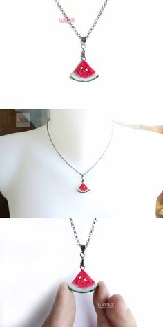 Hot red watermelon necklace double sided pendant. Mouthwatering fruit jewelry triangle necklaces handmade in polymer clay by LA NOSTALGIE . Cute gifts for fruitlovers! #RedCharmNecklace #WatermelonStyle #FruitJewelry