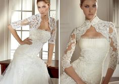 Lace bridal jackets for your strapless dress.
