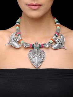 Buy Silver Green Red Blue Stone Studded Tribal Necklace Cotton Thread Semi Precious Stones Jewelry Necklaces/Pendants The Treasure Chest necklaces with pendants and painted motifs Online at Jaypore.com