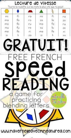 Enseigner et pratiquer la fusion à travers des jeux - FREE French speed reading game for blending!