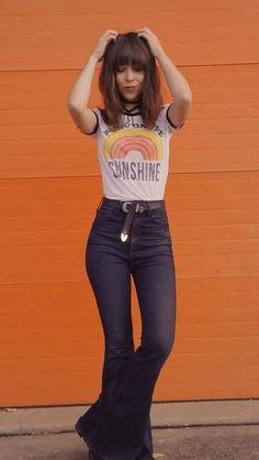 Bring On The Sunshine Ringer Tee, 70s Style, Bell Bottoms Outfit, Boho Fashion