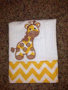 Giraffe Embroidered Burp Cloth on Etsy