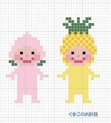 もも&パインチャートはこちら(KG-Chart LE for Cross Stitchを使用して作りました)使用糸 DMC (色番号)もも: (3716) パイン: (973)(972)共通: 顔(754)目(310)ほっぺ(760)口(3350)葉(904)※この図案を使用して... Cross Stitch Designs, Cross Stitch Patterns, Stitch Character, Iron Beads, Mini Cross Stitch, Crochet Chart, Brick Stitch, Perler Beads, Handmade Crafts