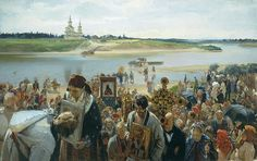 """EASTER PROCESSION 1893 by Illarion Pryanishnikov ( 1840-1894) oil on canvas 40"""" x 65"""" Russian State Museum, St Petersburg"""
