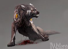 Alvis by Whiluna wounded snarling wolf dog monster beast creature animal | Create your own roleplaying game material w/ RPG Bard: www.rpgbard.com | Writing inspiration for Dungeons and Dragons DND D&D Pathfinder PFRPG Warhammer 40k Star Wars Shadowrun Call of Cthulhu Lord of the Rings LoTR + d20 fantasy science fiction scifi horror design | Not Trusty Sword art: click artwork for source