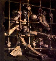 Locutory of San Bernardo by Baldomero Romero Ressendi (Spanish, Francisco Goya, Fantasy Kunst, Dark Fantasy Art, Creepy Art, Weird Art, Arte Horror, Horror Art, Theme Tattoo, Renaissance Kunst