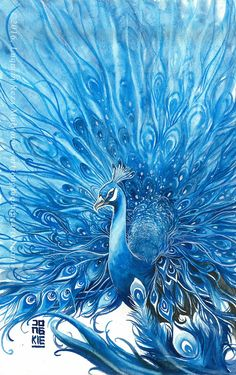 "Original painting by Luqman Reza Mulyono (Jongkie) entitled ""Water Peacock"". This painting painted on December 1 Medium watercolors. Peacock Wallpaper, Peacock Wall Art, Peacock Painting, Silk Painting, Art Aquarelle, Watercolor Paintings, Crayons Pastel, Peacock Images, Indian Art Paintings"