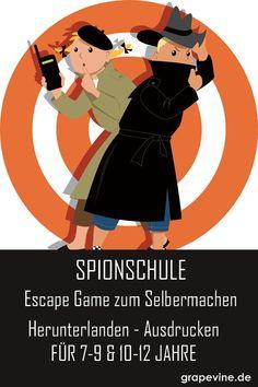 Escape Game: Spionschule 10-12 JahreNEU!  Willkommen in der Spionschule S.P.Y.S! Hier werden Geheimagenten im  Alter von 7-9 Jahren ausgebildet. Zunächst erhalten sie ein  grundlegendes Spion-Training, bevor sie zu ihrer ersten Mission  geschickt werden. Dabei müssen die Teilnehmer aufregenden Hinweisen  folgen und knifflige Rätsel lösen. #escapegame #escaperoom #grapevine #spion