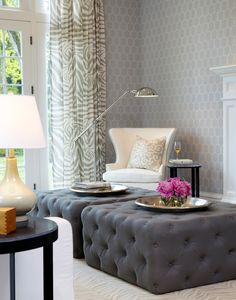 Old Westbury Neoclassical || Oversized Tufted Ottomans || Chango & Co.