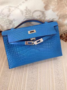 replica hermes birkin handbag - Hermes Kelly Pochette Bleu Marine Blue Black Crocodile Gold Ghw ...
