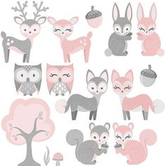 A pink bunny, deer & fox are just a few of the clip art items in this set! This woodland animal clipart set is great for baby girl shower decor, invites & more. Commercial use is okay if you are a small business (please read the terms of use on my shop policy page concerning all clip