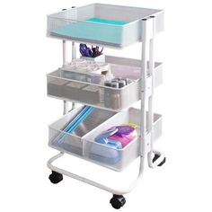 The Storage Studios Rolling Craft Cart is ideal for keeping small spaces organized. Rolls easily to and from work areas, locking casters keep it in place. Features heavy duty metal construction and th