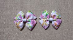 Pink Hairbow Pigtail Clips Girls Hair by GloriaMillerCreation
