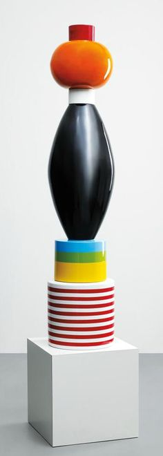 """Menta"" totem by Ettore Sottsass Jr., circa 1986 Glazed earthenware, plastic laminate-covered particle board."