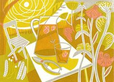 Summertime by Clare Curtis, hand printed linocut print. Linocut Prints, Art Prints, Block Prints, Art Techniques, Cool Art, Nice Art, Contemporary Art, Painting, Summertime