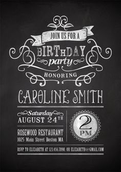 Birthday Invitations : Printable Chalkboard Themed Birthday Party Invitation with Black and White Card featuring Swirl Frame Design Inspirations - Adult Birthday Party Invitations Card