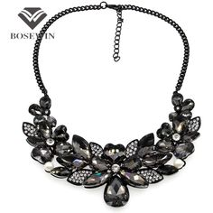 Women  Crystal Flower Maxi Necklace Gun Black Chain Rhinestone Collar Statement Necklaces  Pendants Vintage Jewelry Like and Share if you agree! Visit us