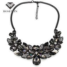 Women  Crystal Flower Maxi Necklace Gun Black Chain Rhinestone Collar Statement Necklaces & Pendants Vintage Jewelry