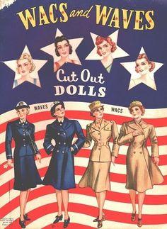WACS og Waves Paper Dolls Original Uncut Book fra 1943 | eBay