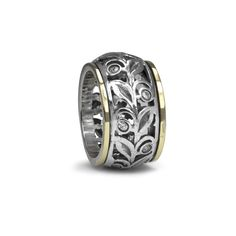 Forever-9 Kt Yellow Gold & Sterling Silver Hand Crafted MeditationRing (spinning ring) featuring thick beautiful flower detail Spinning Band with Cubic Zirconiums.