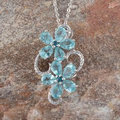 Madagascar Paraiba Apatite (Pear), Malgache Neon Apatite, Diamond Pendant With Chain (20 in) in Platinum Overlay Sterling Silver Nickel Free TDiaWt 0.010Cts., TGW 4.71 Cts.