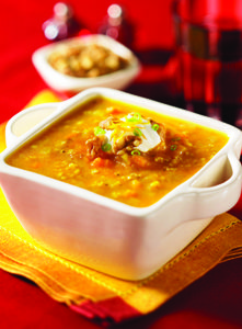 Curried sweet potato and millet soup