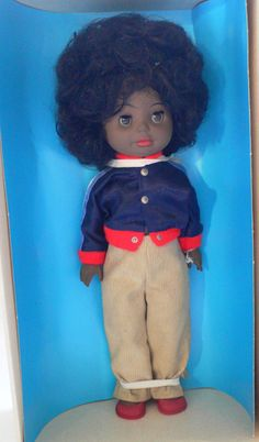 Vintage Ostalgie DDR BLACK DISCO Doll Blue Jacket MIB 1970 s Germany