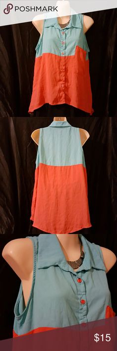High low button down shirt. Super light high low two tone button down shirt. Turquoise and Coral. 100% Polyester. Gently worn. Cherish Tops Button Down Shirts