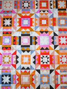 Inside Out Quilt Paper Pattern by Then Came June Includes instructions for Throw Size Quilts and is Fat Qtr and Yardage Friendly