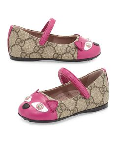 Z1LF8 Gucci GG Supreme Kitty Mary Jane Flat, Beige, Toddler
