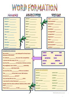 A word formation exercise for advanced students. The same words as in Word Formation Thirty sentences to be completed with the right form of the word in. Hindi Worksheets, 1st Grade Worksheets, Grammar Worksheets, Printable Worksheets, Free Printable, Teaching Vocabulary, Teaching Jobs, English Lessons, Learn English
