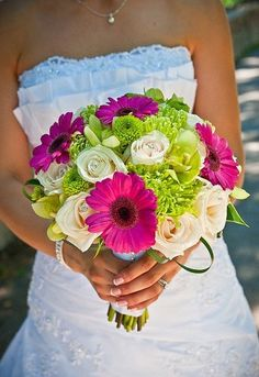 green pink white bouquet wedding