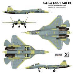 """Según un analista americano el nuevo (en proyecto y pruebas iniciales) avión de caza ruso de la 5ª Generación, furtivo o """"stealth"""" , tendr..."""