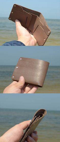Billetera de cuero para hombre cartera hecha a mano vintage Slim plegables minimalista de billetera cartera billetera de cuero regalo para novio de hombres #N05