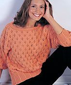 LW1355 Eyelet and Cabled Pullover