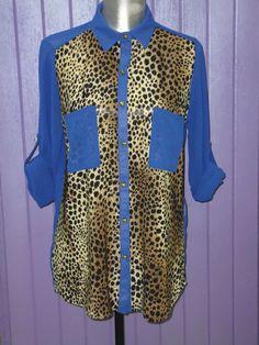 Camisa azul electrico  leopardo €19.90