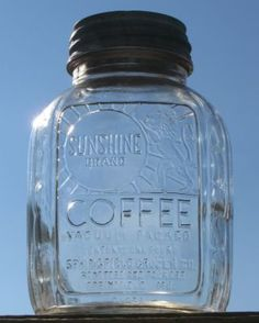 Vintage Sunshine Coffee Jar Springfield Mo Canning Jar Zinc Lid Something that I learned this week, Coffee companies began using glass packaging during WWII to save on metal due to the war. Antique Bottles, Vintage Bottles, Bottles And Jars, Antique Glass, Glass Bottles, Vintage Kitchenware, Vintage Dishes, Vintage Glassware, Antique Dishes