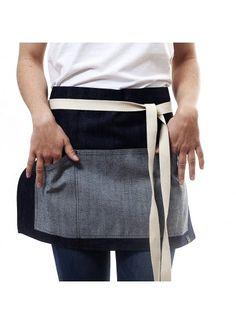 Delantal vaquero_ Raw denim apron_ barista Half apron_ Tablier en jeans_JOOK COMPANY.COM