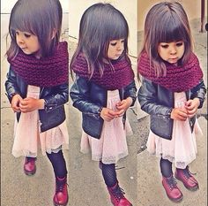 omg my future kid! Leather jacket with doc martens and scarf #loveit