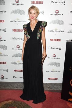 The Bleeder afterparty – September 2 2016 Naomi Watts accessorised her Fendi gown with Repossi jewels. Modest flutter sleeve.