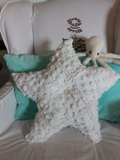Nautical Chenille Starfish Pillow. White Chenille. Vintage. Under the Sea. Beach Cottage. Nautical Decor  4 Coastal Living by searchnrescue2