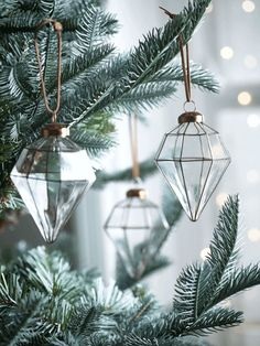 Six Diamond Drop Baubles - Christmas