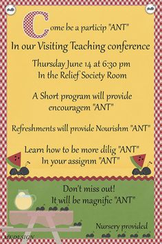 """Relief Society Visiting teaching conference invitation. Ant program  Get Relief Society Ideas at - www.MormonLink.com  """"I cannot believe how many LDS resources I found... It's about time someone thought of this!""""   - MormonLink.com"""